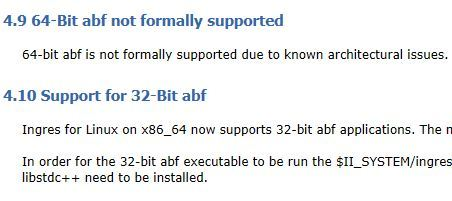 latest ingres 10 2 documentation about 32 vs 64 bit support